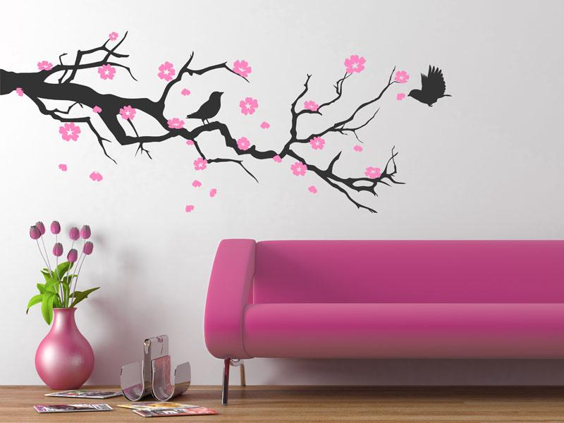 kirschbl tenzweig wandtattoo zweig kirschbl ten ast. Black Bedroom Furniture Sets. Home Design Ideas