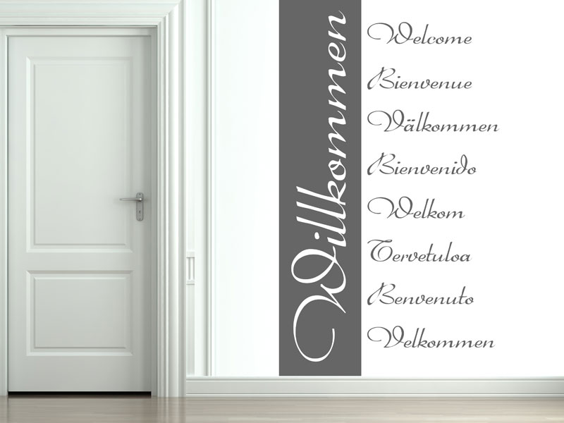 wandbanner willkommen wandtattoo international. Black Bedroom Furniture Sets. Home Design Ideas