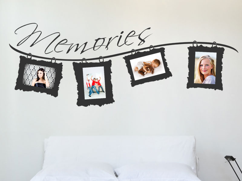 wandtattoo fotorahmen mit schriftzug memories. Black Bedroom Furniture Sets. Home Design Ideas