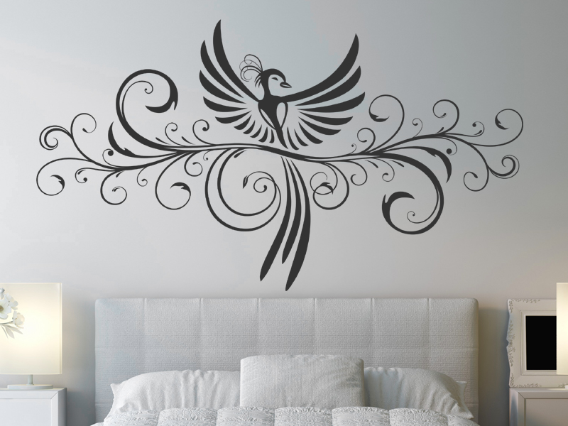 dekoratives ornament ph nix wandtattoo ornament ph nix vogel schn rkel bei. Black Bedroom Furniture Sets. Home Design Ideas