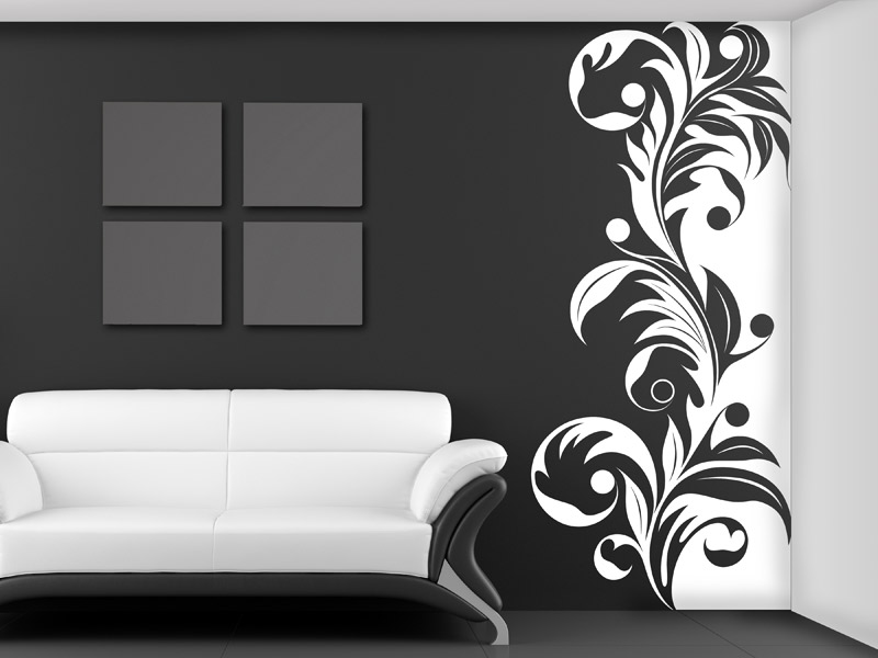 wandbanner florales ornament wandtattoo xxl. Black Bedroom Furniture Sets. Home Design Ideas