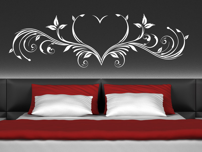 wandtattoo herz ornament romantisch. Black Bedroom Furniture Sets. Home Design Ideas