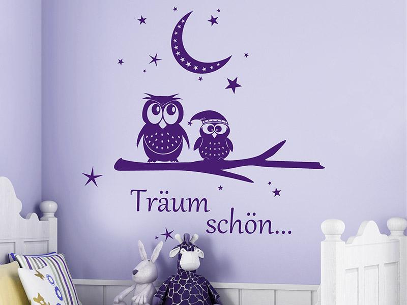 Wandtattoo Träum schön Eule mit Mondsichel... | Wandtattoos.de