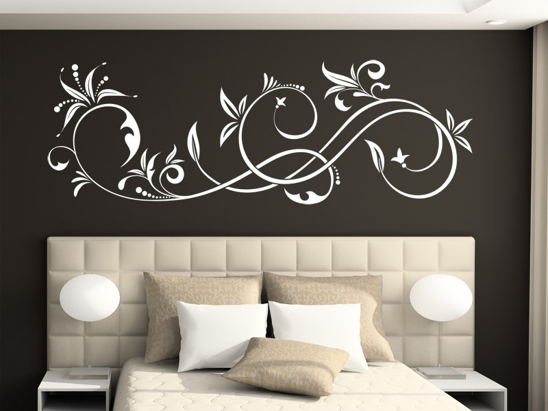 wandtattoo elegantes ornament mit bl ttern. Black Bedroom Furniture Sets. Home Design Ideas