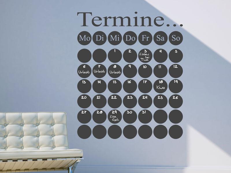 tafelfolie termine wandtattoo terminkalender. Black Bedroom Furniture Sets. Home Design Ideas