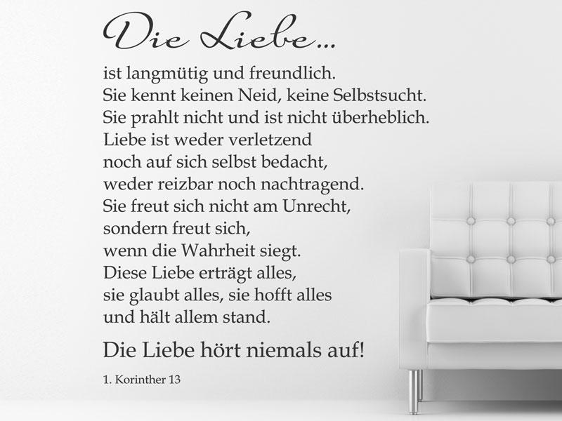 Brief Für Liebe : Hohelied liebe wandtattoo bei wandtattoos