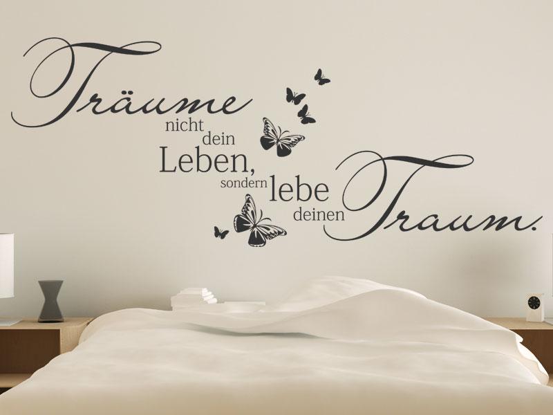 Lebe deinen Traum Wandtattoo - Träume nicht dein Leben Spruch Wandaufkleber von Wandtattoos.de