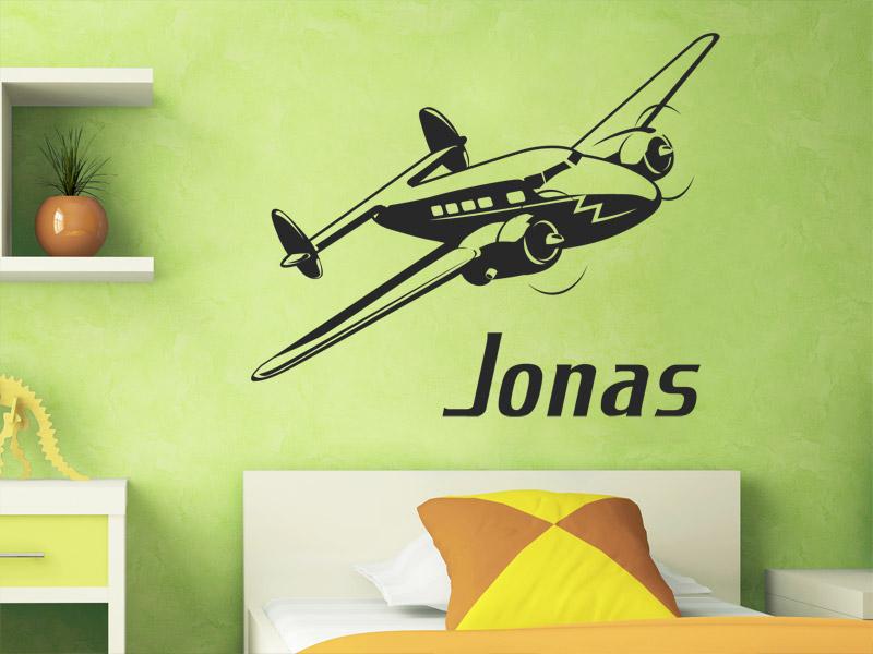 Wandtattoo Flugzeug mit Wunschname - Wandtattoos.de