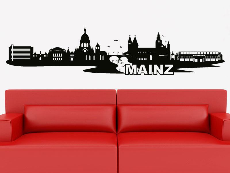 wandtattoo skyline mainz silhouette. Black Bedroom Furniture Sets. Home Design Ideas