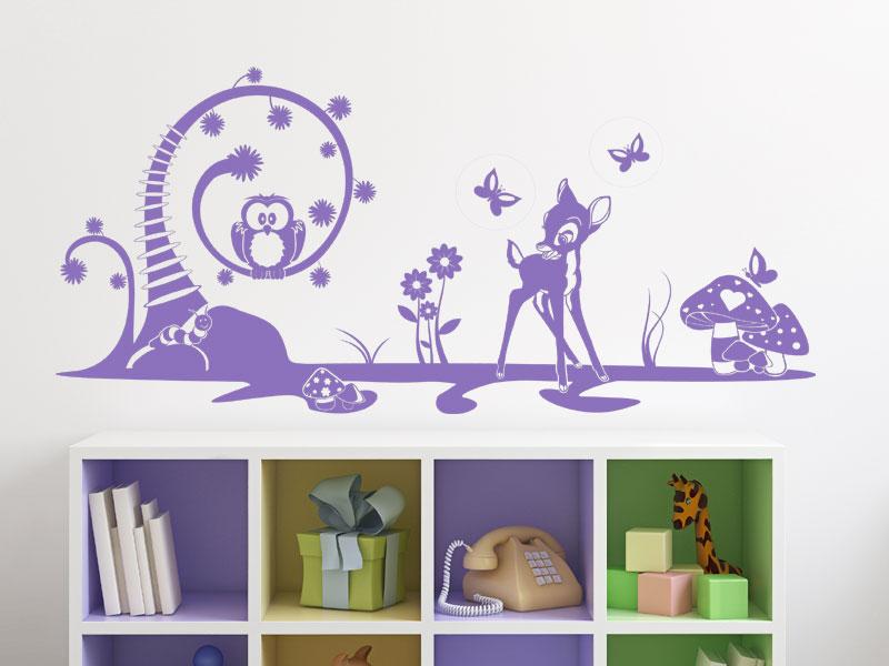wandtattoo m rchenlandschaft mit waldtieren. Black Bedroom Furniture Sets. Home Design Ideas