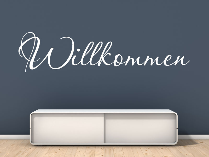 wandtattoo schriftzug willkommen willkommen wandaufkleber von. Black Bedroom Furniture Sets. Home Design Ideas