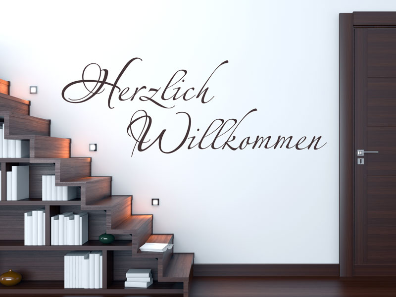 schriftzug herzlich willkommen herzlich willkommen welcome wandtattoo von. Black Bedroom Furniture Sets. Home Design Ideas