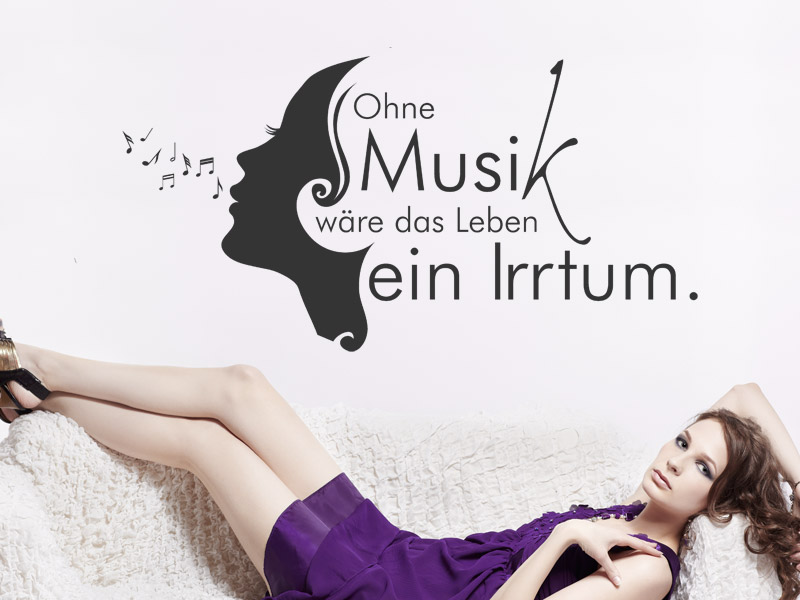 wandtattoo ohne musik w re das leben ein irrtum. Black Bedroom Furniture Sets. Home Design Ideas