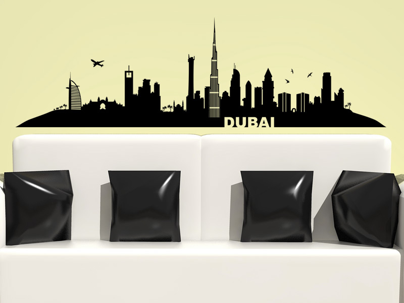 wandtattoo skyline dubai silhouette. Black Bedroom Furniture Sets. Home Design Ideas