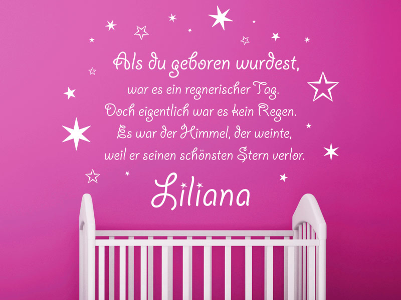 wandtattoo der sch nste stern wandtattoo geburt baby wandtattoos babyzimmer. Black Bedroom Furniture Sets. Home Design Ideas