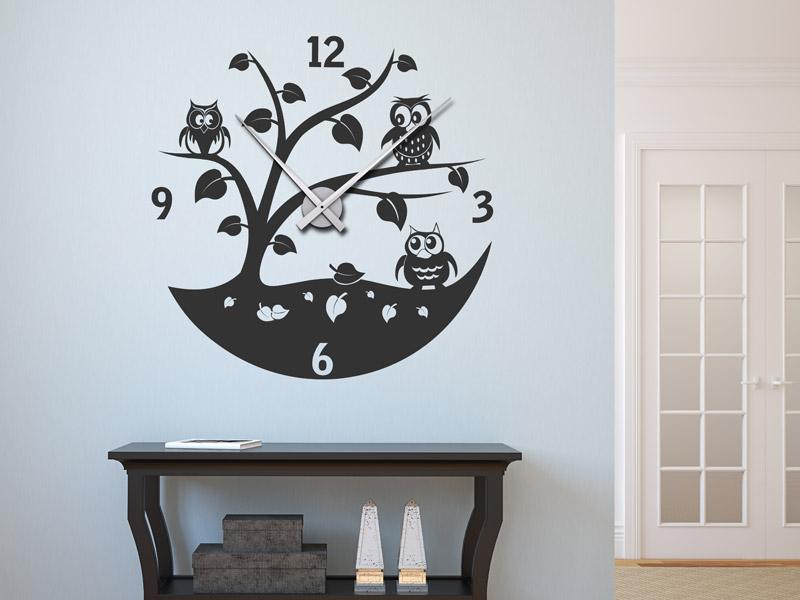 wandtattoo wanduhr eulen uhr mit uhrwerk. Black Bedroom Furniture Sets. Home Design Ideas