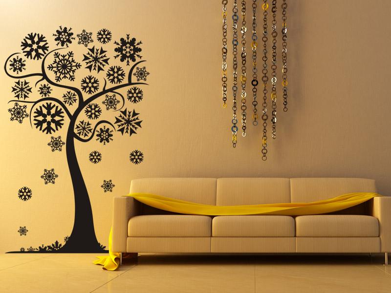 wandtattoo winterlicher baum mit schneeflocken. Black Bedroom Furniture Sets. Home Design Ideas
