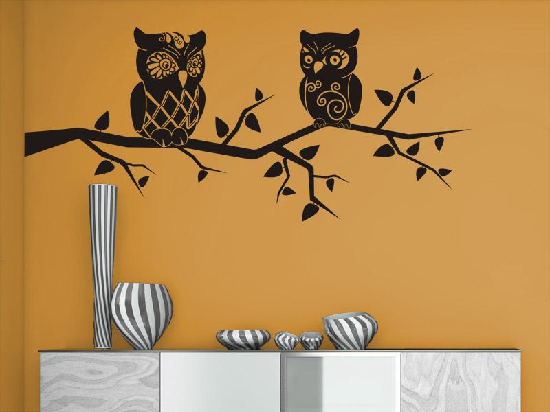wandtattoo ast mit dekorativen eulen. Black Bedroom Furniture Sets. Home Design Ideas