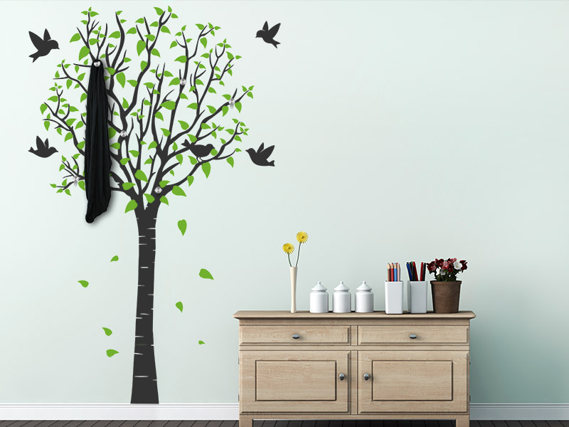 wandtattoo garderobe zweifarbiger baum. Black Bedroom Furniture Sets. Home Design Ideas