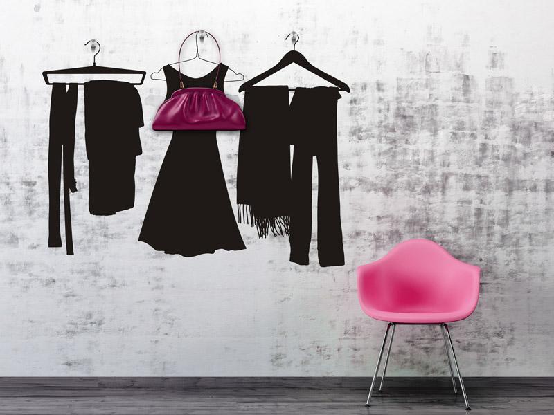 Wandtattoo garderobe kleider mit wandhaken - Wandtattoo garderobe ...