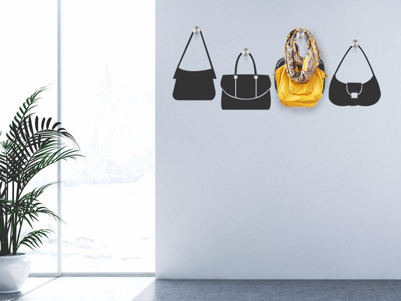 wandtattoo garderobe handtaschen wandgarderobe. Black Bedroom Furniture Sets. Home Design Ideas