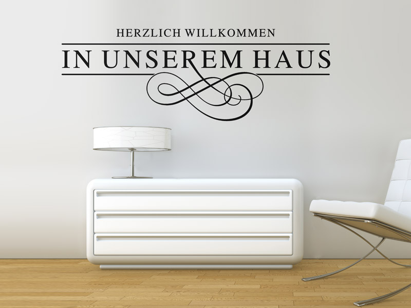 wandtattoo herzlich willkommen in unserem haus. Black Bedroom Furniture Sets. Home Design Ideas