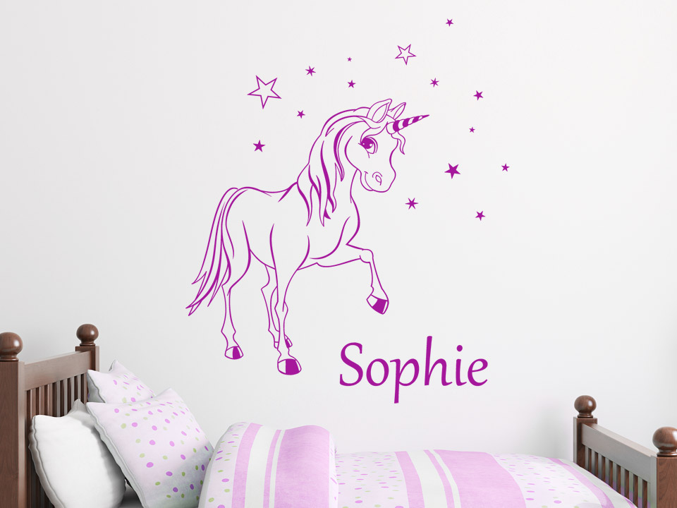 zauber pony wandtattoo mit wunschname wandtattoo pony mit. Black Bedroom Furniture Sets. Home Design Ideas