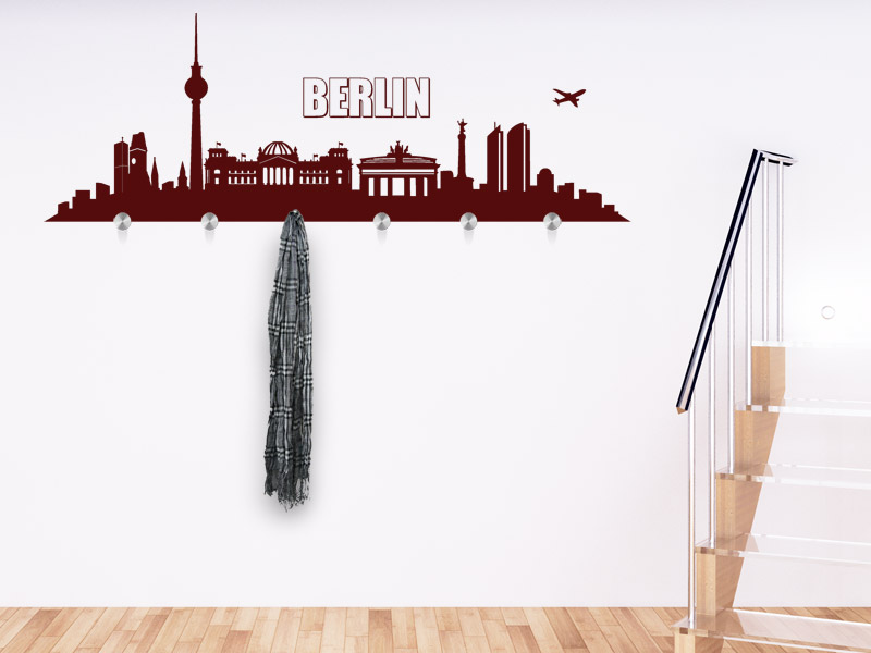 Wandtattoo garderobe berlin skyline mit wandhaken - Wandtattoo garderobe ...