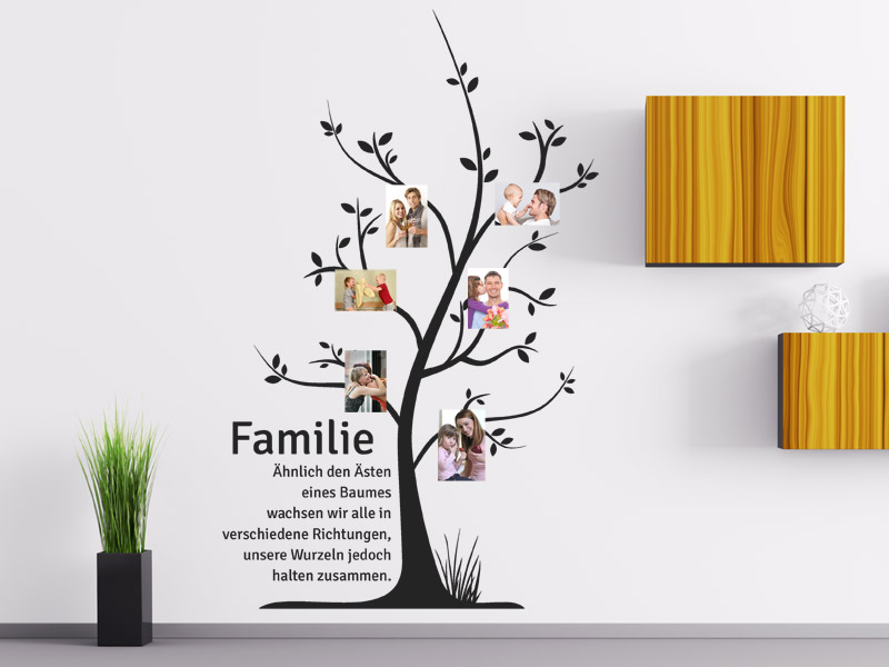 wandtattoo familienbaum mit fotos. Black Bedroom Furniture Sets. Home Design Ideas