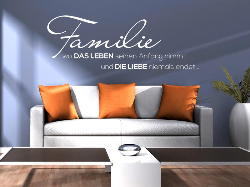 wo das leben wandtattoo sprichwort familie spruch von. Black Bedroom Furniture Sets. Home Design Ideas