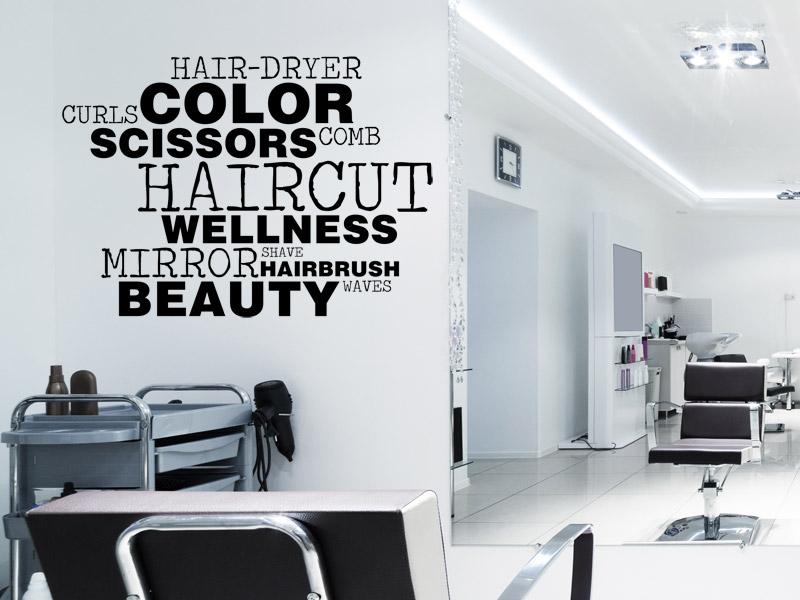 wandtattoo englische wortwolke f r friseure. Black Bedroom Furniture Sets. Home Design Ideas