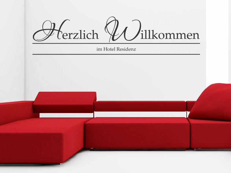 wandtattoo hotel herzlich willkommen. Black Bedroom Furniture Sets. Home Design Ideas