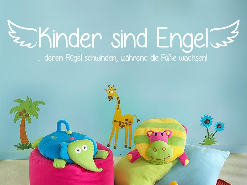 wandtattoo kindergarten spruch kinder sind engel. Black Bedroom Furniture Sets. Home Design Ideas