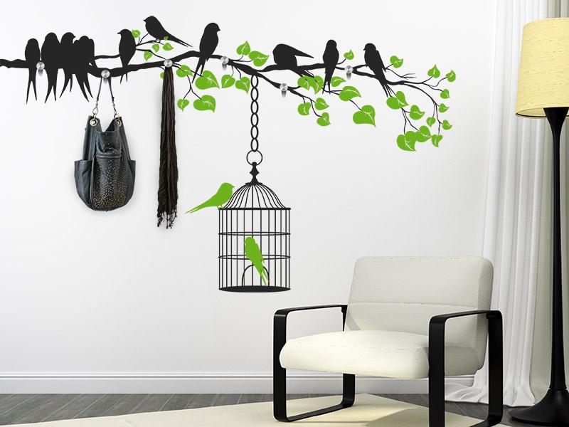 Wandtattoo garderobe ast mit vogelk fig bei for Garderobe baum