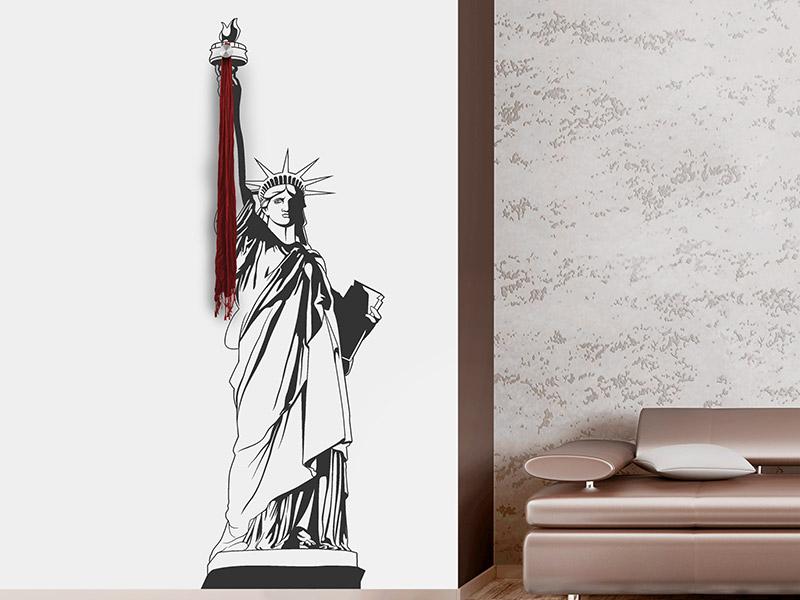 Wandtattoo garderobe freiheitsstatue mit wandhaken for Garderobe new york