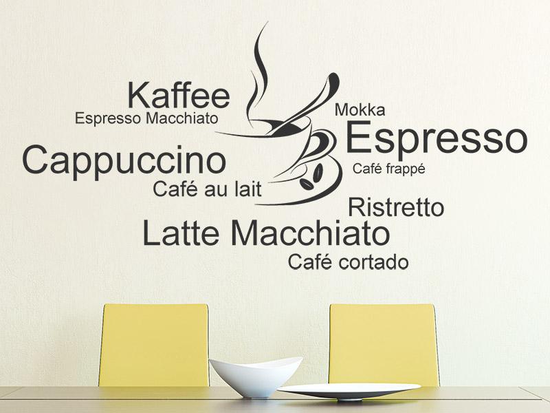 Wandtattoo Kaffeetasse mit Kaffeesorten | Wandtattoos.de