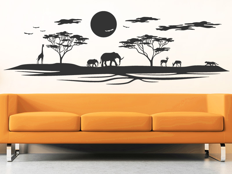 wandtattoo landschaft in afrika sonnenuntergang. Black Bedroom Furniture Sets. Home Design Ideas