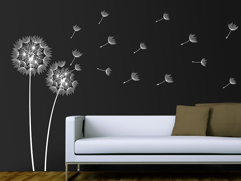 wandtattoo pusteblumen im wind. Black Bedroom Furniture Sets. Home Design Ideas