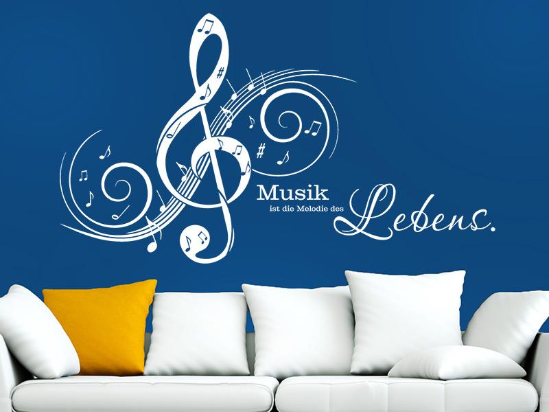 Lovely Wandtattoo Musik Ist Die Melodie.