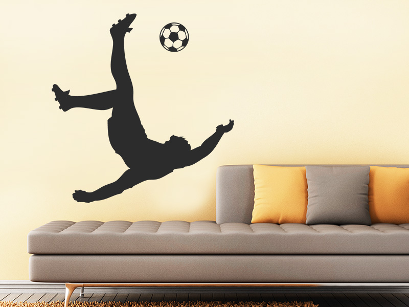 wandtattoo fu ball kunstschuss fu ballspieler. Black Bedroom Furniture Sets. Home Design Ideas