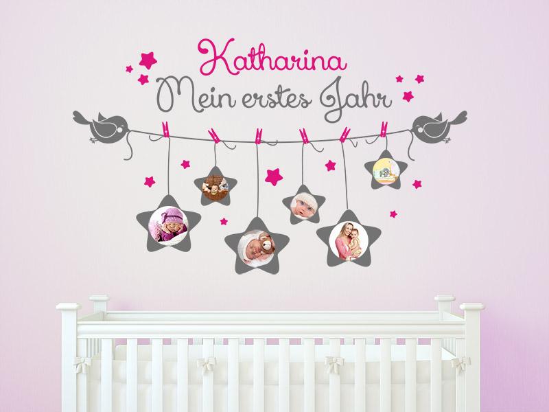 Baby wandtattoo fotorahmen mein erstes jahr mit name bei - Wandtattoo baum babyzimmer ...