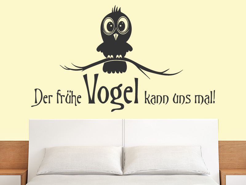 wandtattoo der fr he vogel kann uns mal. Black Bedroom Furniture Sets. Home Design Ideas