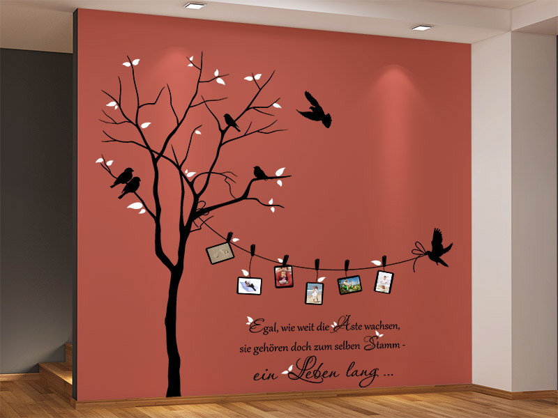 wandtattoo zweifarbiger baum mit fotorahmen und spruch wandtattoo foto baum wandtattoos. Black Bedroom Furniture Sets. Home Design Ideas