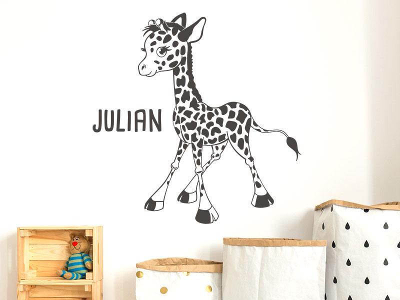wandtattoo s e giraffe mit name. Black Bedroom Furniture Sets. Home Design Ideas