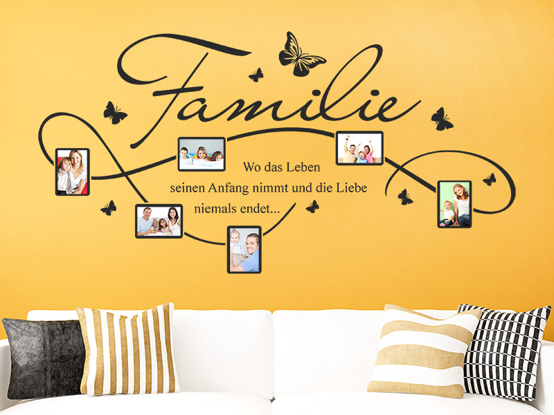 wandtattoo familie fotorahmen mit spruch. Black Bedroom Furniture Sets. Home Design Ideas