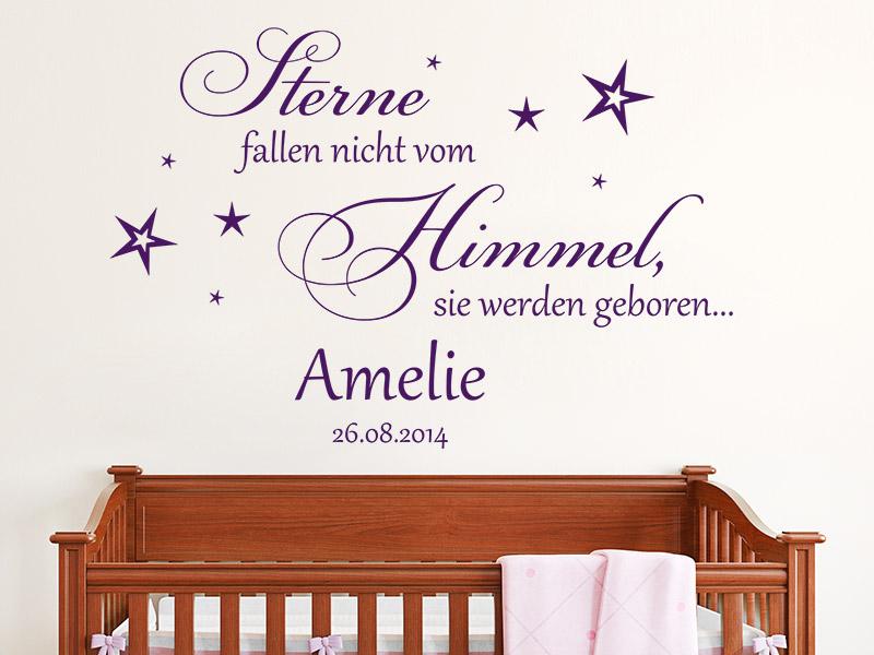 Wandtattoo Sterne werden geboren mit Wunschname - Wandtattoos.de