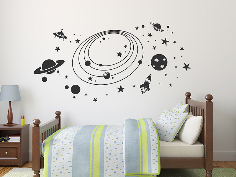wandtattoo weltall mit sternen planeten. Black Bedroom Furniture Sets. Home Design Ideas