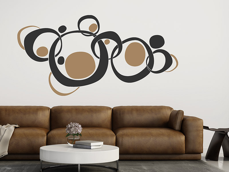 wandtattoo zweifarbiges retro ornament von. Black Bedroom Furniture Sets. Home Design Ideas