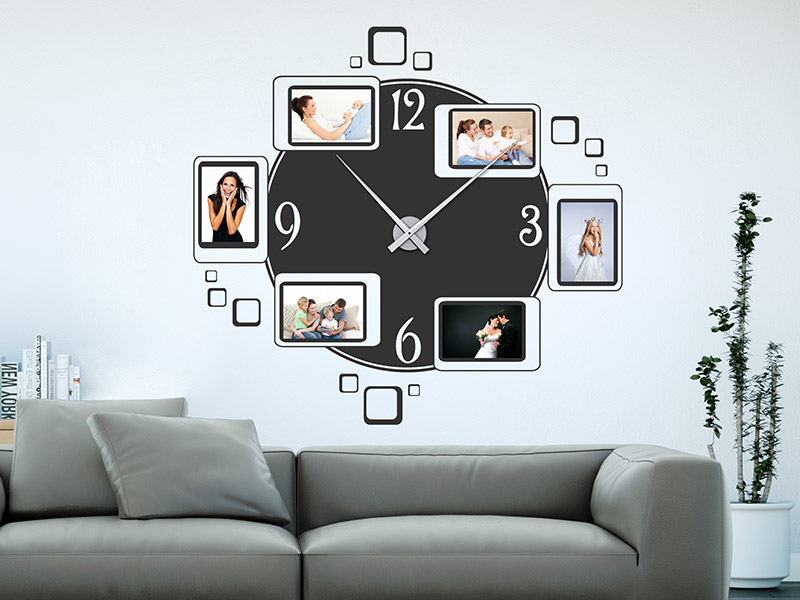 wandtattoo uhr mit fotorahmen wanduhr. Black Bedroom Furniture Sets. Home Design Ideas