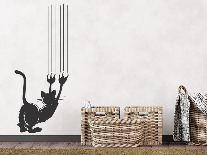 wandtattoo kratzende katze. Black Bedroom Furniture Sets. Home Design Ideas